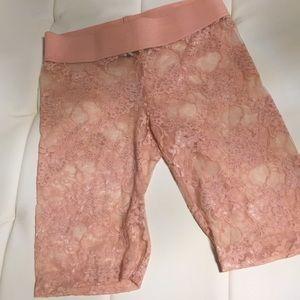 Pink Floral Mesh Shorts